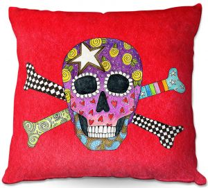 Throw Pillows Decorative Artistic   Marley Ungaro - Skull and Cross Bones Red   Skull and Cross Bones Stylized