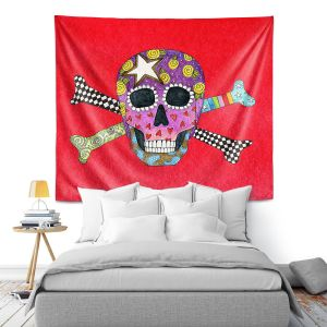 Artistic Wall Tapestry | Marley Ungaro - Skull and Cross Bones Red | Skull and Cross Bones Stylized
