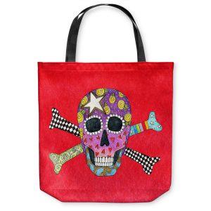 Unique Shoulder Bag Tote Bags   Marley Ungaro - Skull and Cross Bones Red   Skull and Cross Bones Stylized