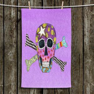 Unique Hanging Tea Towels | Marley Ungaro - Skull and Cross Bones Violet | Skull and Cross Bones Stylized