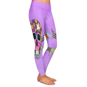 Casual Comfortable Leggings | Marley Ungaro - Skull and Cross Bones Violet | Skull and Cross Bones Stylized
