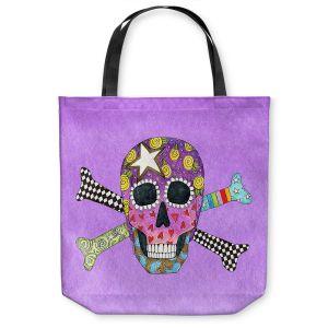 Unique Shoulder Bag Tote Bags   Marley Ungaro - Skull and Cross Bones Violet   Skull and Cross Bones Stylized