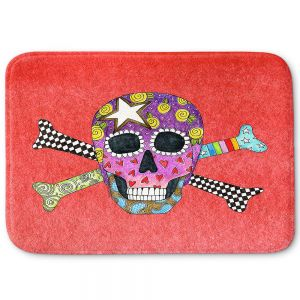 Decorative Bathroom Mats | Marley Ungaro - Skull and Cross Bones Watermelon | Skull and Cross Bones Stylized