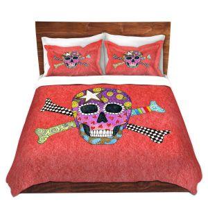 Artistic Duvet Covers and Shams Bedding | Marley Ungaro - Skull and Cross Bones Watermelon | Skull and Cross Bones Stylized