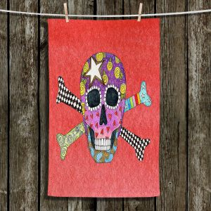 Unique Hanging Tea Towels | Marley Ungaro - Skull and Cross Bones Watermelon | Skull and Cross Bones Stylized