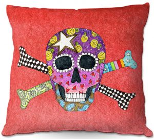 Throw Pillows Decorative Artistic | Marley Ungaro - Skull and Cross Bones Watermelon | Skull and Cross Bones Stylized