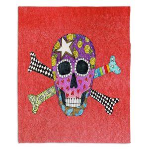 Artistic Sherpa Pile Blankets   Marley Ungaro - Skull and Cross Bones Watermelon   Skull and Cross Bones Stylized