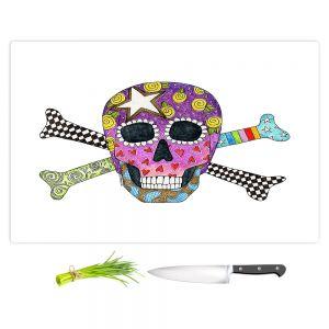 Artistic Kitchen Bar Cutting Boards | Marley Ungaro - Skull and Cross Bones White | Skull and Cross Bones Stylized