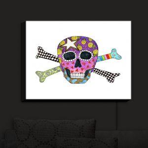 Nightlight Sconce Canvas Light   Marley Ungaro - Skull and Cross Bones White