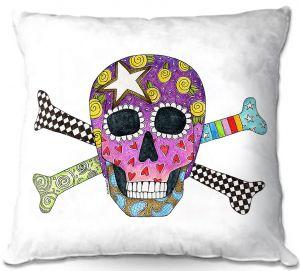 Throw Pillows Decorative Artistic   Marley Ungaro - Skull and Cross Bones White   Skull and Cross Bones Stylized