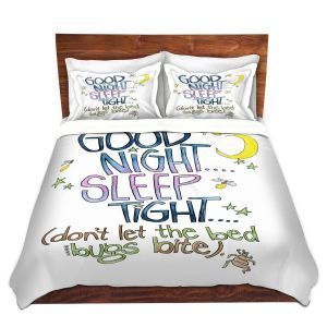 Artistic Duvet Covers and Shams Bedding   Marley Ungaro - Sleep Tight   Text typography words