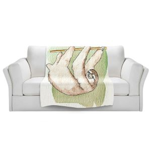 Artistic Sherpa Pile Blankets   Marley Ungaro - Sloth White   animal creature nature collage