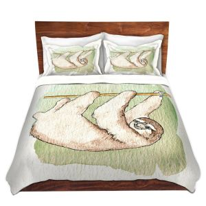 Artistic Duvet Covers and Shams Bedding | Marley Ungaro - Sloth White | animal creature nature collage