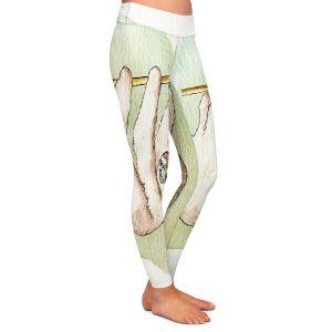 Casual Comfortable Leggings | Marley Ungaro - Sloth White | animal creature nature collage