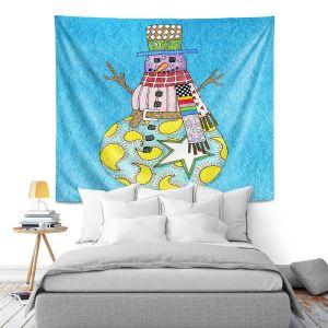 Artistic Wall Tapestry | Marley Ungaro - Snowman Aqua | Snowman Winter Childlike Holidays
