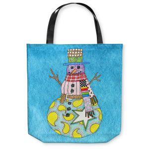 Unique Shoulder Bag Tote Bags | Marley Ungaro - Snowman Aqua | Snowman Winter Childlike Holidays