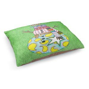 Decorative Dog Pet Beds   Marley Ungaro - Snowman Green   Snowman Winter Childlike Holidays