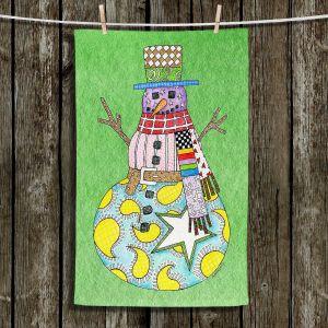 Unique Bathroom Towels   Marley Ungaro - Snowman Green   Snowman Winter Childlike Holidays