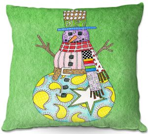 Throw Pillows Decorative Artistic | Marley Ungaro - Snowman Green | Snowman Winter Childlike Holidays