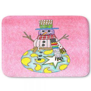 Decorative Bathroom Mats   Marley Ungaro - Snowman Light Pink   Snowman Winter Childlike Holidays