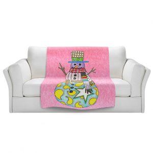 Artistic Sherpa Pile Blankets   Marley Ungaro - Snowman Light Pink   Snowman Winter Childlike Holidays