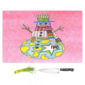 Artistic Kitchen Bar Cutting Boards | Marley Ungaro - Snowman Light Pink | Snowman Winter Childlike Holidays