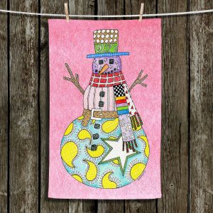 Unique Bathroom Towels   Marley Ungaro - Snowman Light Pink   Snowman Winter Childlike Holidays