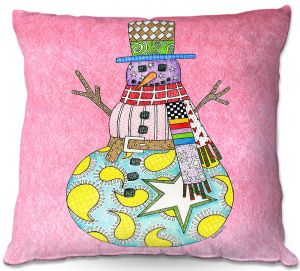 Throw Pillows Decorative Artistic | Marley Ungaro - Snowman Light Pink | Snowman Winter Childlike Holidays