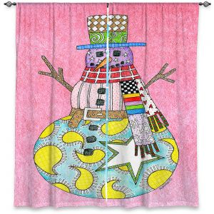 Decorative Window Treatments | Marley Ungaro - Snowman Light Pink | Snowman Winter Childlike Holidays