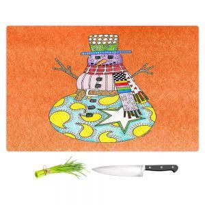 Artistic Kitchen Bar Cutting Boards | Marley Ungaro - Snowman Orange | Snowman Winter Childlike Holidays