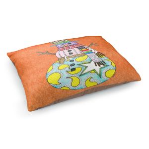 Decorative Dog Pet Beds | Marley Ungaro - Snowman Orange | Snowman Winter Childlike Holidays