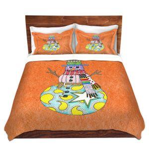Artistic Duvet Covers and Shams Bedding | Marley Ungaro - Snowman Orange | Snowman Winter Childlike Holidays