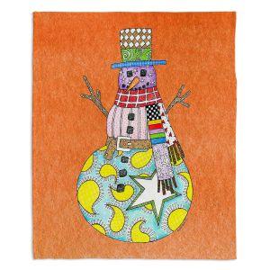 Decorative Fleece Throw Blankets | Marley Ungaro - Snowman Orange | Snowman Winter Childlike Holidays