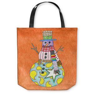 Unique Shoulder Bag Tote Bags | Marley Ungaro - Snowman Orange | Snowman Winter Childlike Holidays