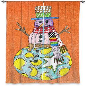 Decorative Window Treatments   Marley Ungaro - Snowman Orange   Snowman Winter Childlike Holidays