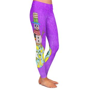 Casual Comfortable Leggings | Marley Ungaro - Snowman Purple | Snowman Winter Childlike Holidays