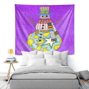Artistic Wall Tapestry | Marley Ungaro - Snowman Purple | Snowman Winter Childlike Holidays