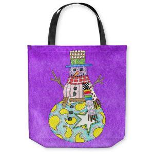 Unique Shoulder Bag Tote Bags | Marley Ungaro - Snowman Purple | Snowman Winter Childlike Holidays