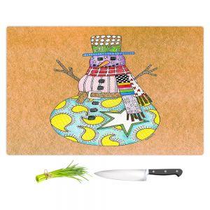 Artistic Kitchen Bar Cutting Boards | Marley Ungaro - Snowman Tan | Snowman Winter Childlike Holidays