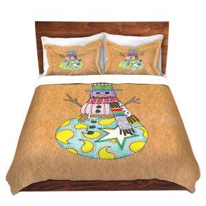 Artistic Duvet Covers and Shams Bedding | Marley Ungaro - Snowman Tan | Snowman Winter Childlike Holidays