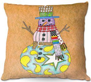 Decorative Outdoor Patio Pillow Cushion | Marley Ungaro - Snowman Tan | Snowman Winter Childlike Holidays