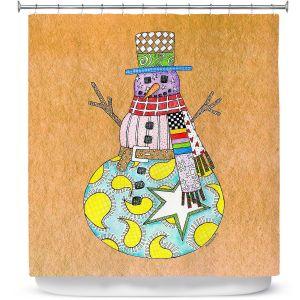Premium Shower Curtains | Marley Ungaro - Snowman Tan | Snowman Winter Childlike Holidays