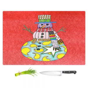 Artistic Kitchen Bar Cutting Boards | Marley Ungaro - Snowman Watermelon | Snowman Winter Childlike Holidays