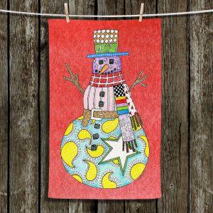 Unique Hanging Tea Towels | Marley Ungaro - Snowman Watermelon | Snowman Winter Childlike Holidays
