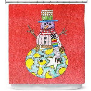 Premium Shower Curtains | Marley Ungaro - Snowman Watermelon | Snowman Winter Childlike Holidays