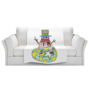 Artistic Sherpa Pile Blankets   Marley Ungaro - Snowman White   Snowman Winter Childlike Holidays