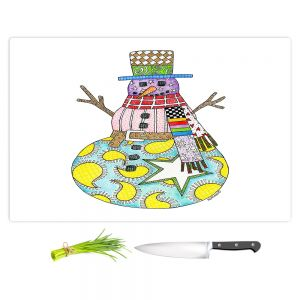 Artistic Kitchen Bar Cutting Boards | Marley Ungaro - Snowman White | Snowman Winter Childlike Holidays