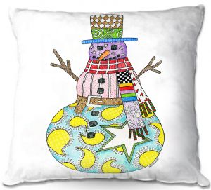 Decorative Outdoor Patio Pillow Cushion | Marley Ungaro - Snowman White | Snowman Winter Childlike Holidays