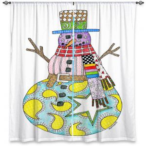 Decorative Window Treatments | Marley Ungaro - Snowman White | Snowman Winter Childlike Holidays