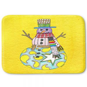 Decorative Bathroom Mats   Marley Ungaro - Snowman Yellow   Snowman Winter Childlike Holidays